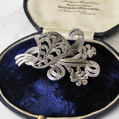 1930s Sterling Silver And Marcasite Brooch, Large Flower Spray Brooch. - Mercy Madge