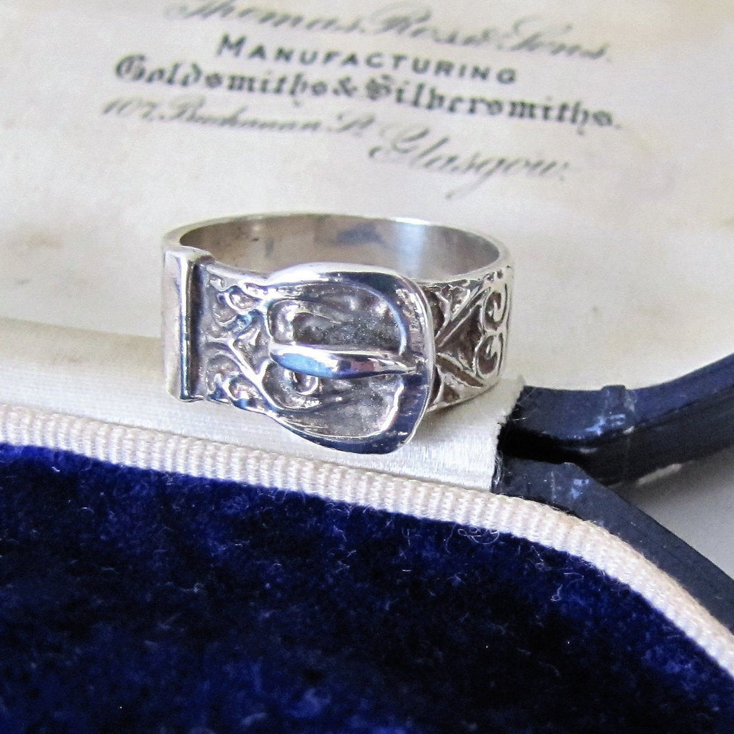 Engraved Scottish Silver Celtic Buckle Ring - MercyMadge