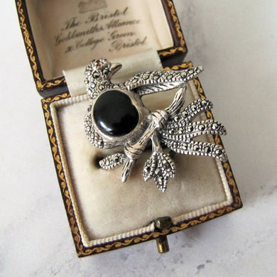 Silver Marcasite Dove Brooch - Mercy Madge