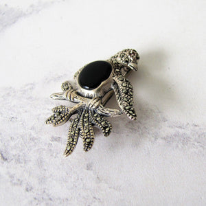 Silver Marcasite Dove Brooch - MercyMadge