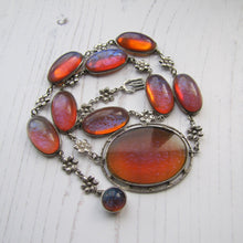 Load image into Gallery viewer, Antique Dragons Breath Saphiret Silver Necklace - MercyMadge