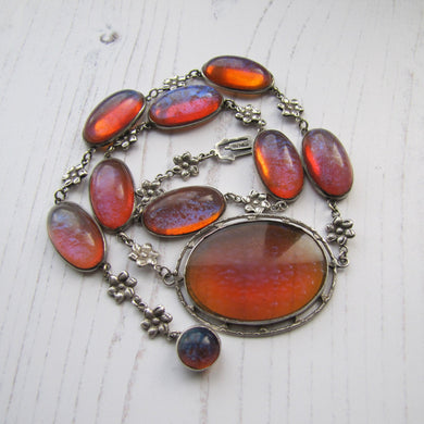 Antique Dragons Breath Saphiret Silver Necklace - MercyMadge