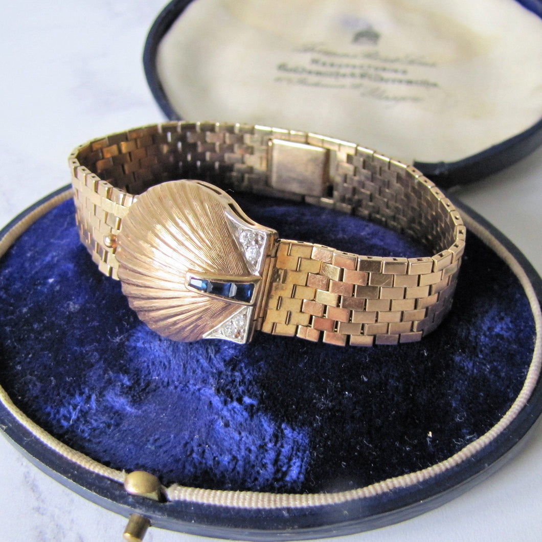 Art Deco 14K Gold, Diamond & Sapphire Hidden Watch Bracelet. - MercyMadge