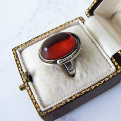 1930's Baltic Amber Sterling Silver Ring. - MercyMadge