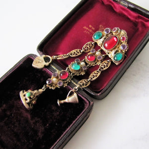 Antique Austro Hungarian Gold Gilt & Paste Chatelaine Brooch. - MercyMadge