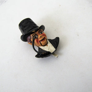 1930s Novelty Brooch, Rare Coro Fur Clip, Charlie McCarthy Mechanical Pin. - MercyMadge