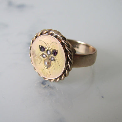 Victorian 9ct Gold Signet Ring, Gem Set Engraved Bee. - MercyMadge