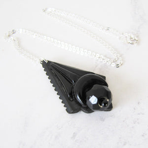 Victorian Whitby Jet Mourning Pendant, Silver Chain. - MercyMadge