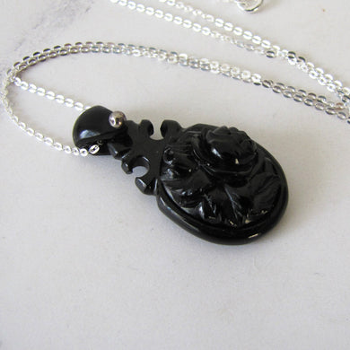 Victorian Whitby Jet Carved Rose Pendant, Silver Chain - MercyMadge