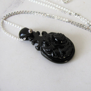 Victorian Whitby Jet Carved Rose Pendant, Silver Chain - Mercy Madge