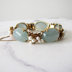Mings Of Honolulu 14K Gold Jade And Pearl Bracelet. - Mercy Madge