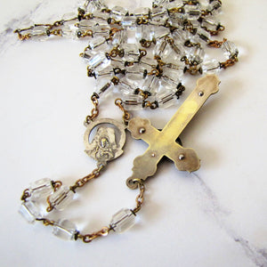 Antique Sterling Silver Czech Crystal Rosary - MercyMadge