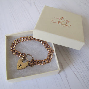 Victorian 9ct Rolled Gold Heart Padlock Bracelet - MercyMadge