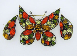 1950s LaRoco Butterfly Brooch & Earring Set. - MercyMadge