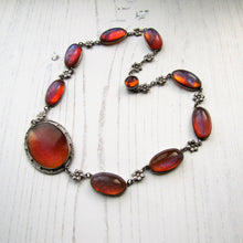 Load image into Gallery viewer, Antique Dragons Breath Saphiret Silver Necklace - Mercy Madge