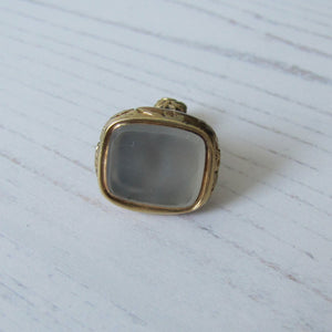 Georgian 15ct Gold Cased Moonstone Fob Pendant - MercyMadge