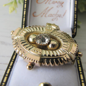Antique Georgian/Victorian Gold Gilt & Paste Diamond Target Brooch. Etruscan Locket Back Brooch With Hair/Photo Compartment