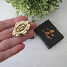 Load image into Gallery viewer, Antique Georgian/Victorian Gold Gilt & Paste Diamond Target Brooch. Etruscan Locket Back Brooch With Hair/Photo Compartment
