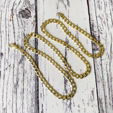 "Vintage Yellow Gold Cuban Curb Chain Necklace. Italian Gold Plated Sterling Silver 20"" Long Chain. Vintage Neck Mess Layering Chain"