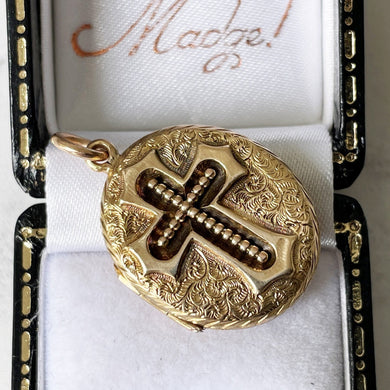 Antique Victorian 15ct Gold Engraved Forget-me-Not Flower & Cross Locket. Double Sided Solid Gold Mourning Locket