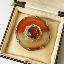 Load image into Gallery viewer, Victorian Scottish Banded Agate & Citrine Brooch. Antique Silver, Gold Gilt Celtic Shield Cairngorm Brooch