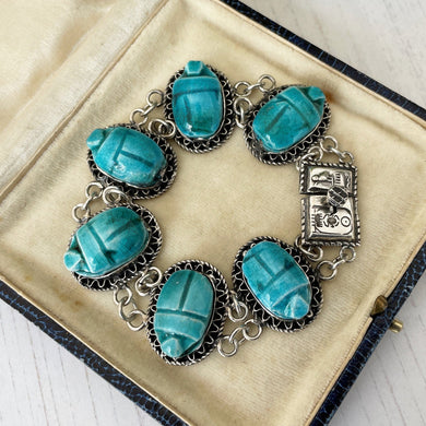 Antique Art Deco Silver Egyptian Revival Scarab Bracelet. 1920s Blue Egyptian Faience Pottery Amulet Bracelet with Hieroglyph Clasp & Box