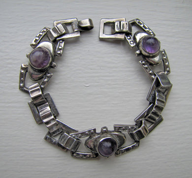 1940s Mexican Silver & Amethyst Bracelet, Taxco. - MercyMadge