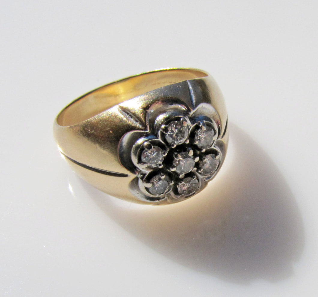 Mens Vintage 14ct Gold & Diamond Cluster Gypsy Ring - MercyMadge