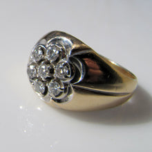 Load image into Gallery viewer, Mens Vintage 14ct Gold & Diamond Cluster Gypsy Ring - MercyMadge