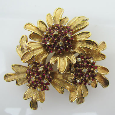 Vintage 1960s CINER Red Rhinestone Flower Brooch. - Mercy Madge