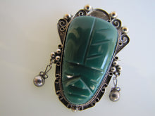 Load image into Gallery viewer, Mexican Sterling Silver Carved Malachite Face Brooch. - MercyMadge