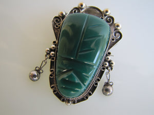 Mexican Sterling Silver Carved Malachite Face Brooch. - MercyMadge