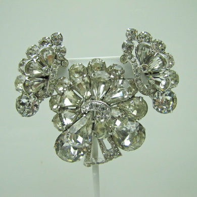 1940s Eisenberg Clear Crystal Diamante Rhinestone Brooch Earring Set. - MercyMadge