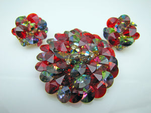 1950s Vendome Red & Grey Crystal Brooch & Earring Set. - MercyMadge