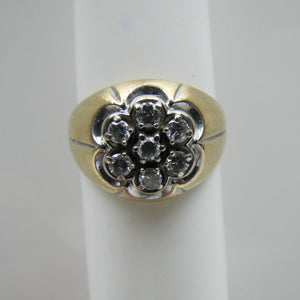 Mens Diamond Cluster Gypsy Ring. 14ct Gold. - MercyMadge