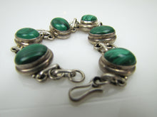 Load image into Gallery viewer, Vintage Silver Malachite Bracelet, Taxco, Mexico. - MercyMadge