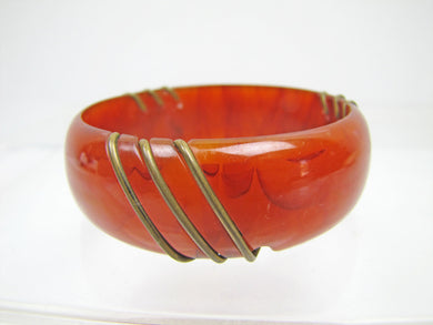 Bakelite & Brass Wide Bangle Bracelet - MercyMadge