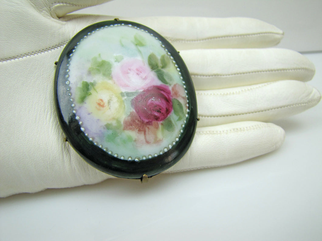 Victorian Painted Porcelain Brooch - MercyMadge