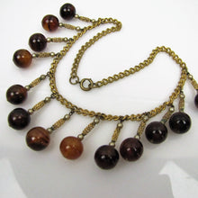 Load image into Gallery viewer, 1930s Art Deco Bakelite Necklace. Vintage Bakelite Orb Charm Necklace. - Mercy Madge