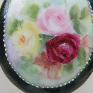 Victorian Painted Porcelain Brooch - Mercy Madge