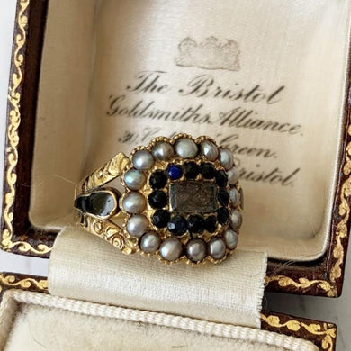 Victorian Sapphire & Pearl 18ct Gold Mourning Ring, Engraved1851
