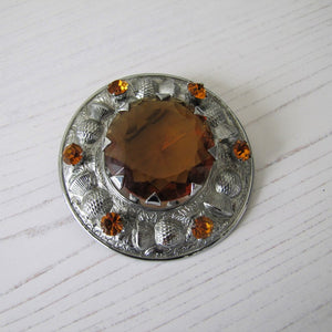 Massive Scottish Citrine & Thistle Celtic Brooch. - MercyMadge