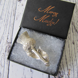 Antique Victorian Scottish Silver Thistle Boutonniere Brooch, Lewis & Alexander 1885 - MercyMadge