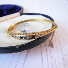 Load image into Gallery viewer, Antique Victorian 15ct Gold, Diamond and Sapphire Bangle Bracelet