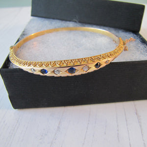 Antique Victorian 15ct Gold, Diamond and Sapphire Bangle Bracelet