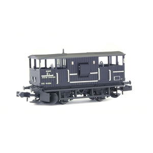 EFE Rail E87517 N Gauge BR 20T 'Shark' Ballast Plough Brake Van BR Departmental Black