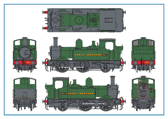 Dapol 7S-006-050 O Gauge GWR 5811 58xx Class 0-4-2T Green Lettered Great Western