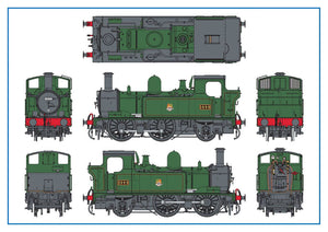 Dapol 7S-006-022 O Gauge BR 1444 ex-GWR 14xx 0-4-2T Auto Fitted Top Feed BR Lined Green Early Emblem