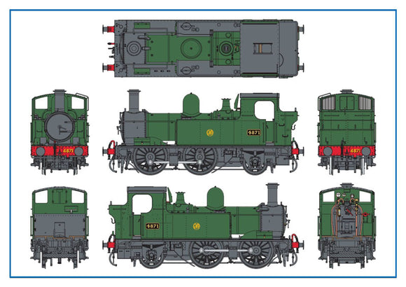 Dapol 7S-006-002 O Gauge GWR 4871 48xx/14xx Class 0-4-2T Auto Fitted GWR Green Shirtbutton Logo
