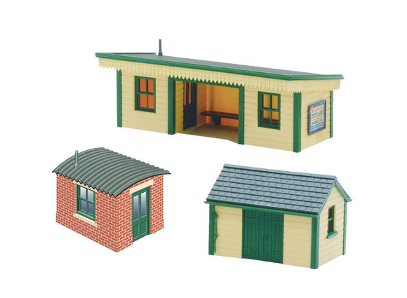 PECO NB-16 Station Platform Shelter with Timber & Brick Huts N Scale Plastic Kit